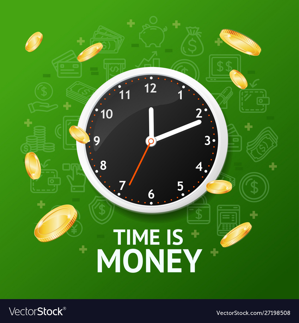 Time is money concept with realistic detailed 3d