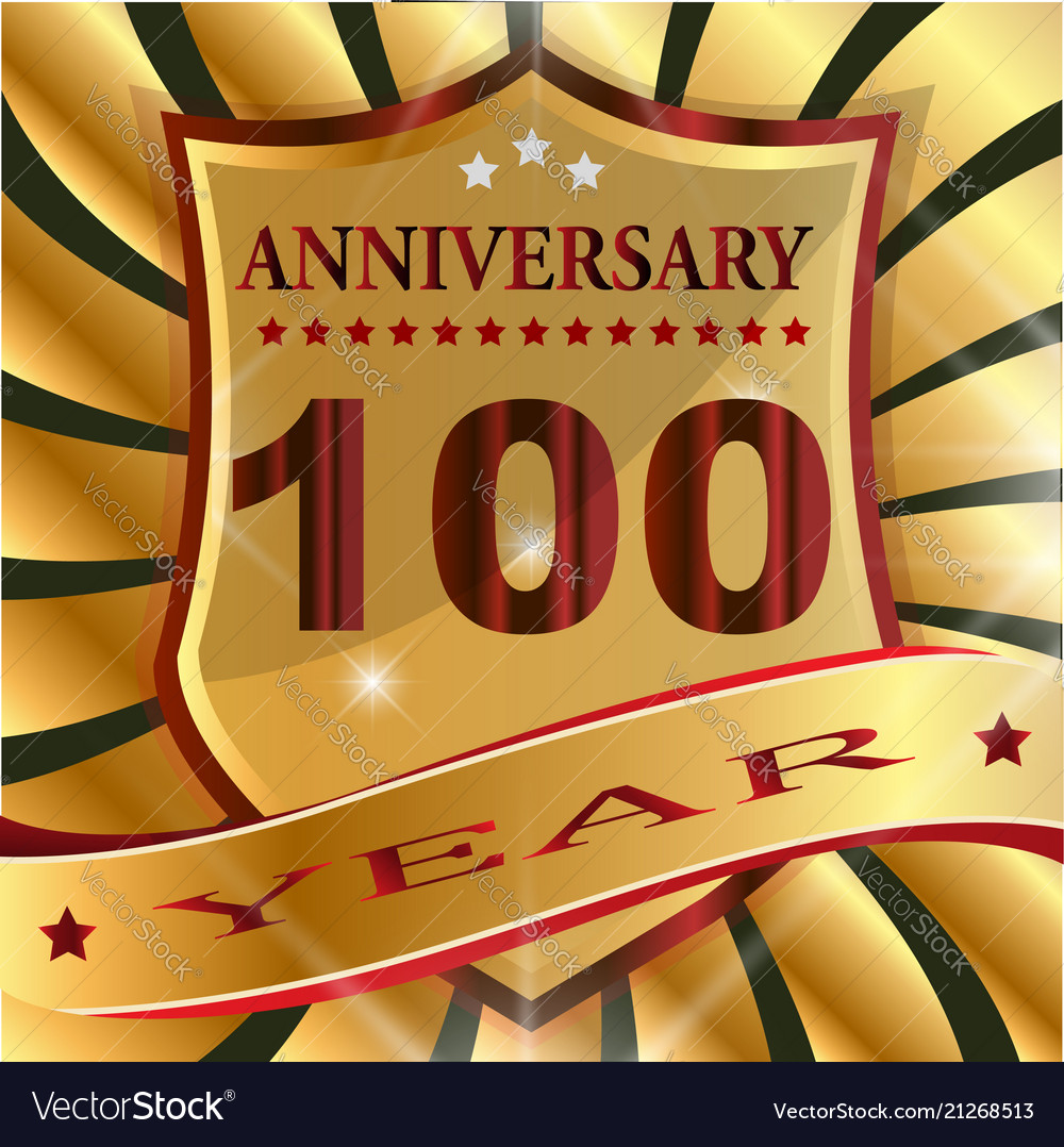 Anniversary 100 th label with ribbon