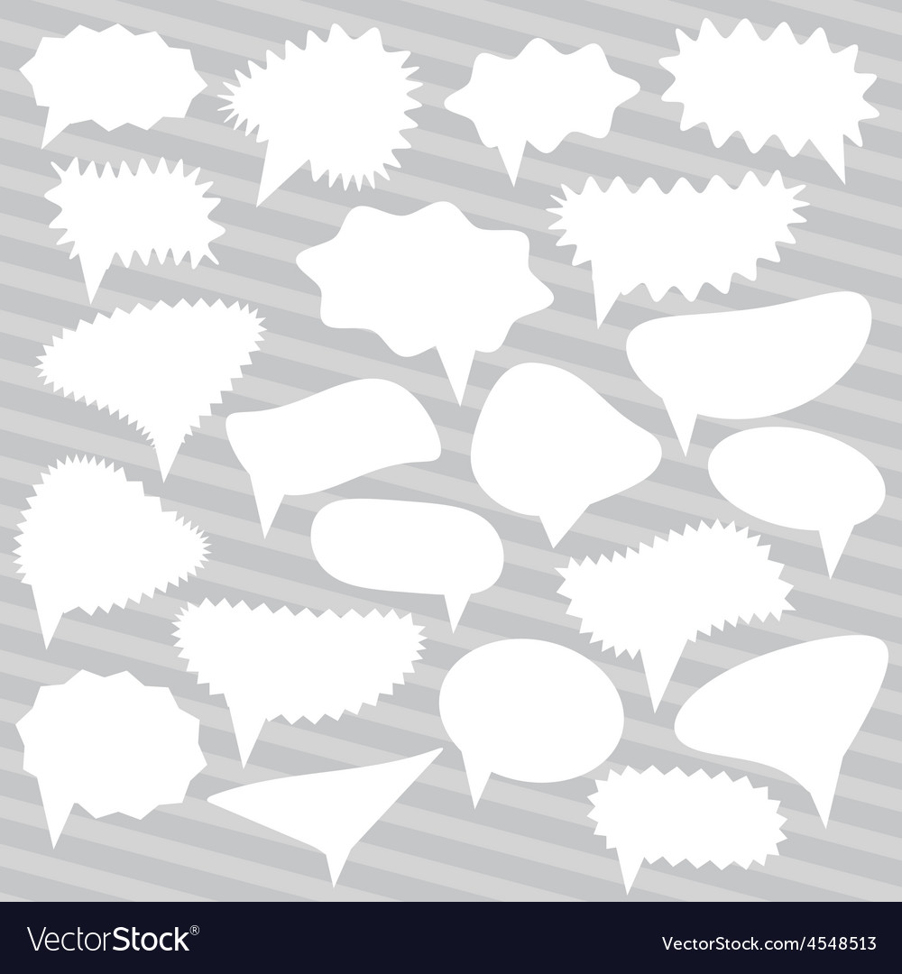 Blank Empty White Speech bubbles set on gray