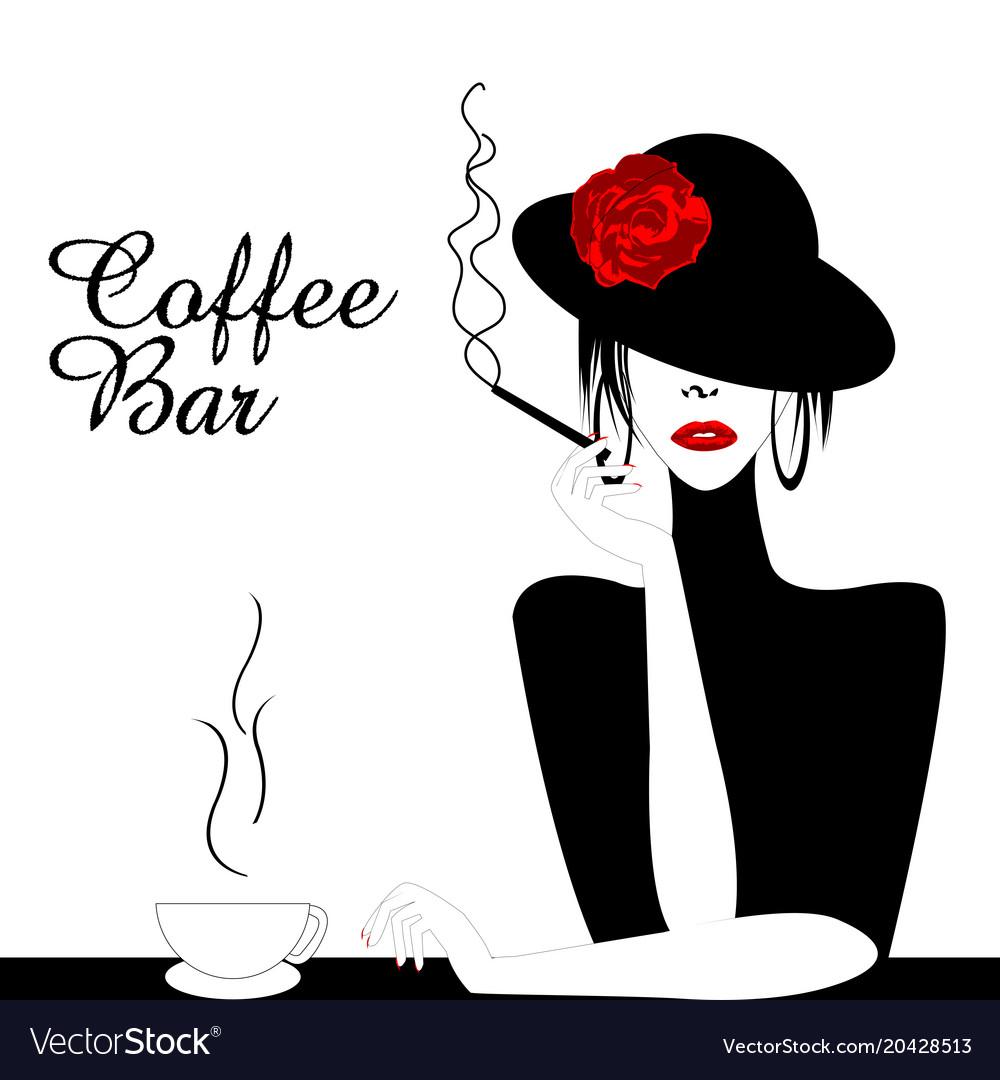 Coffee bar with woman smoking cigarette