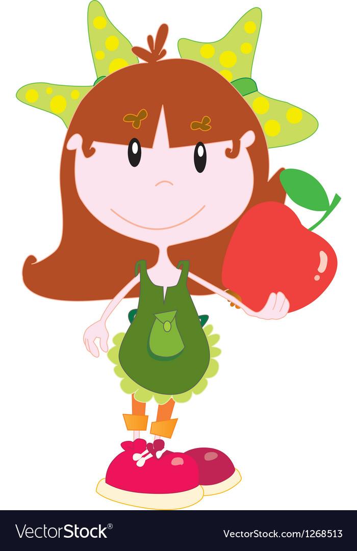 Cute girl with an apple