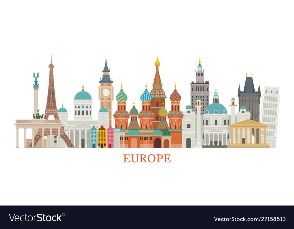 Europe skyline landmarks in flat style