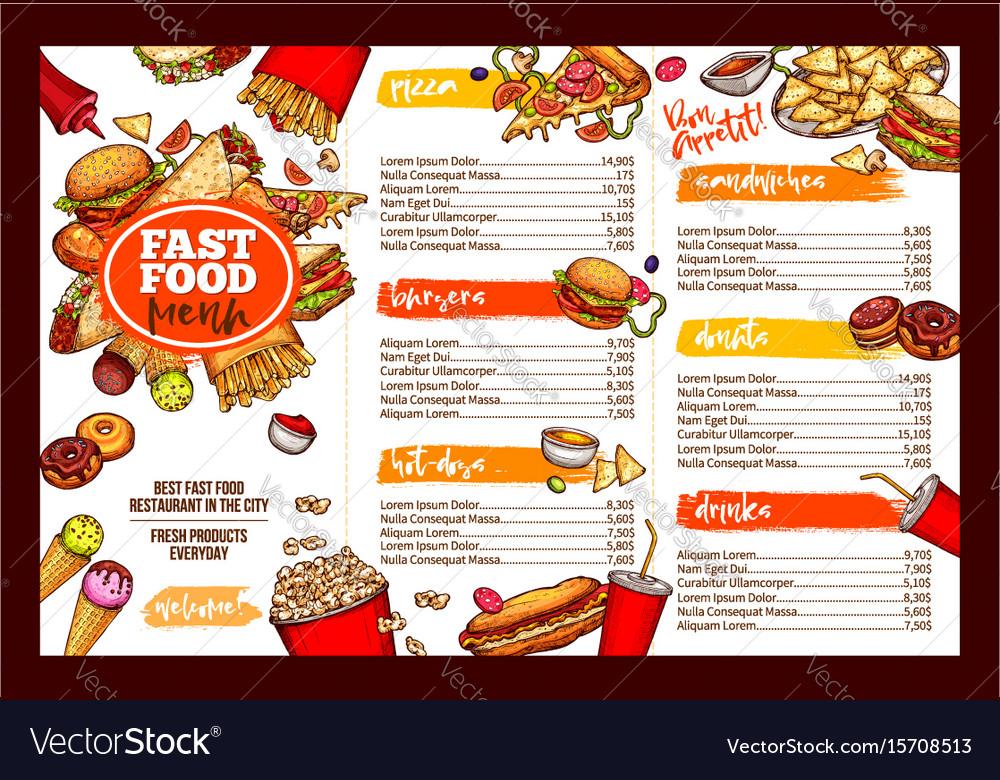 Fast Food Restaurant Menu Brochure Template Design Vector Image