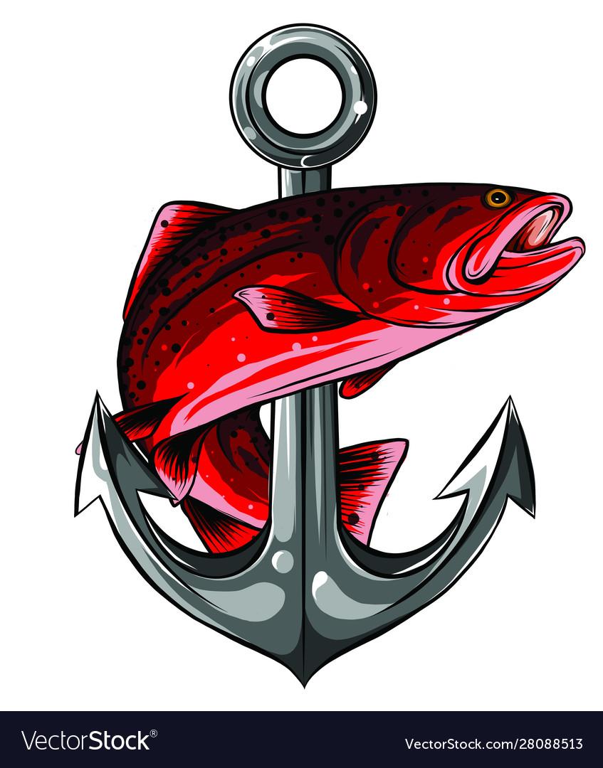 Fish anchor line art quality