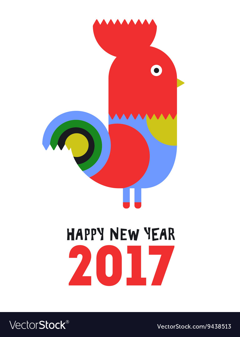 Happy new year red rooster greeting card