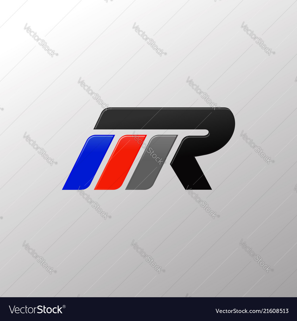 letter mr racing logo design template royalty free vector