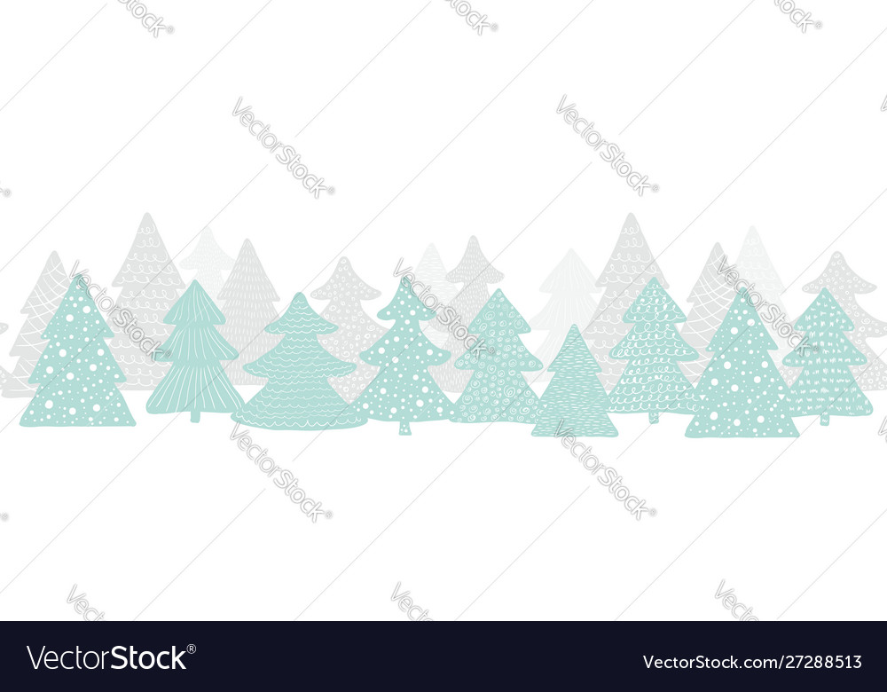 Seamless long banner with christmas trees forest