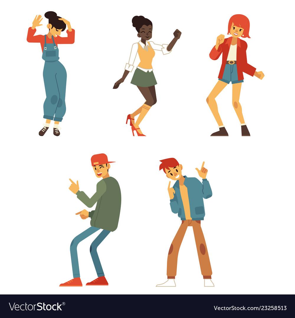 Teen people dancing at party flat set