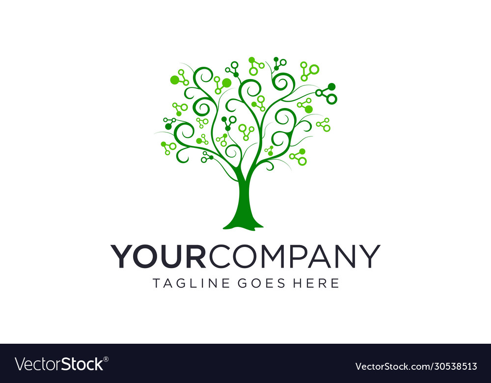 Tree with science for logo design editable