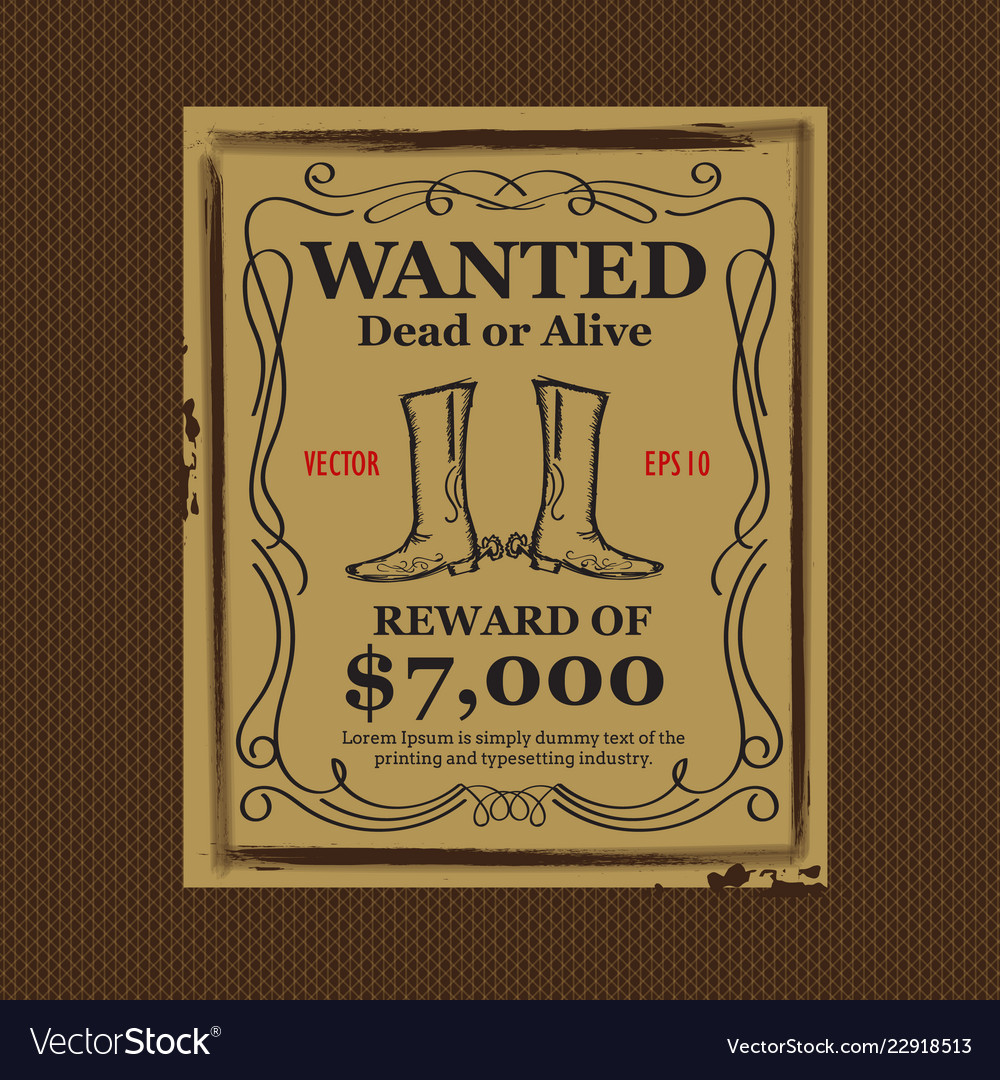 Western background wanted vintage poster hand