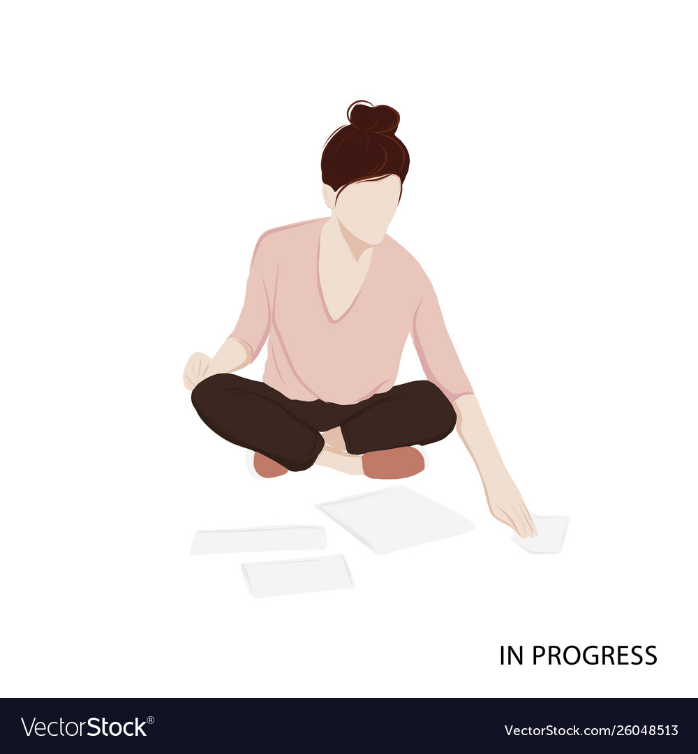 Woman working with papers isometric woman career