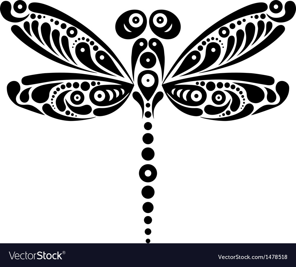 Black and white beautiful dragonfly tattoo vector image
