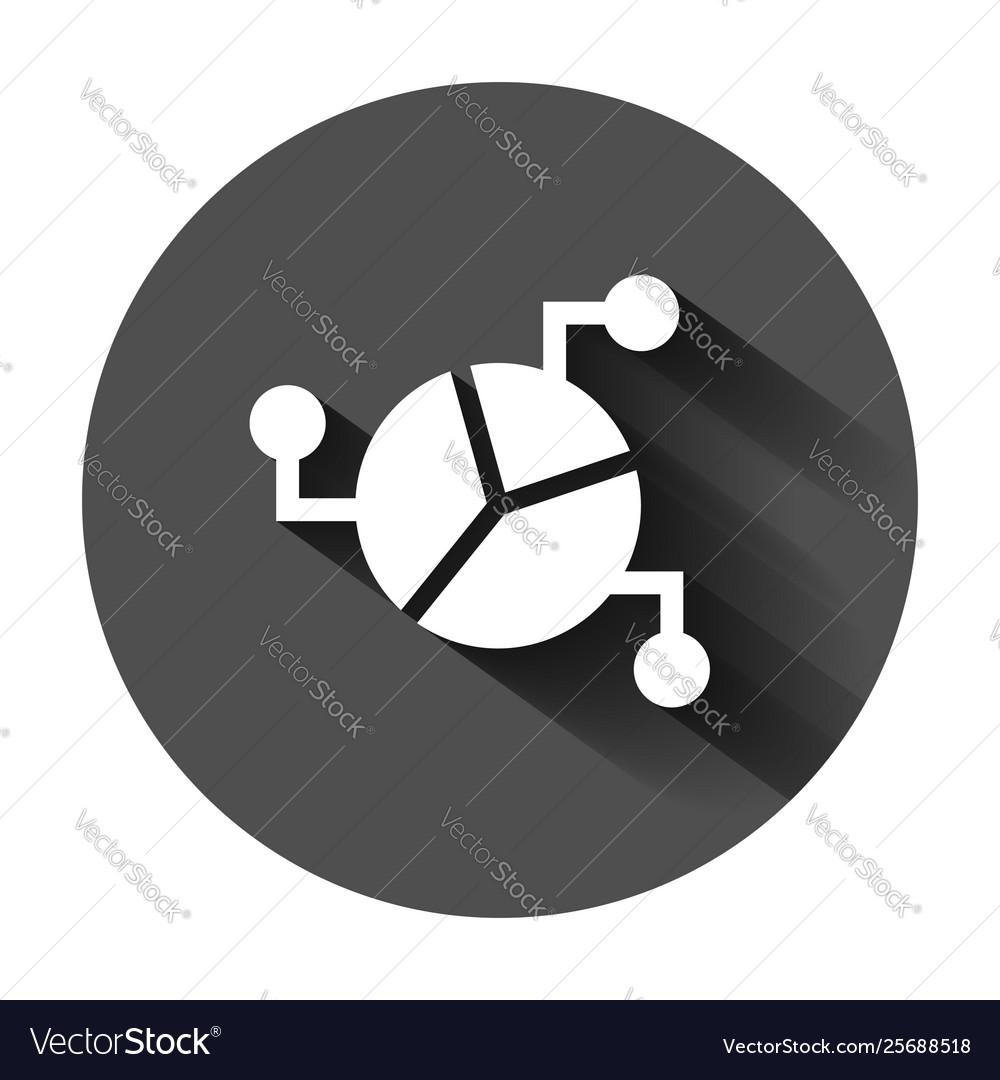 Chart icon in flat style diagram on black round