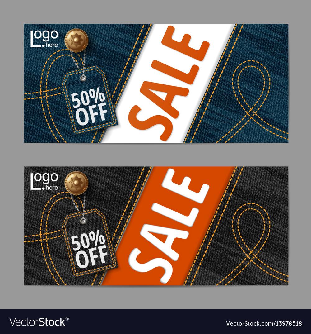 Denim texture jeans bannersale banners design