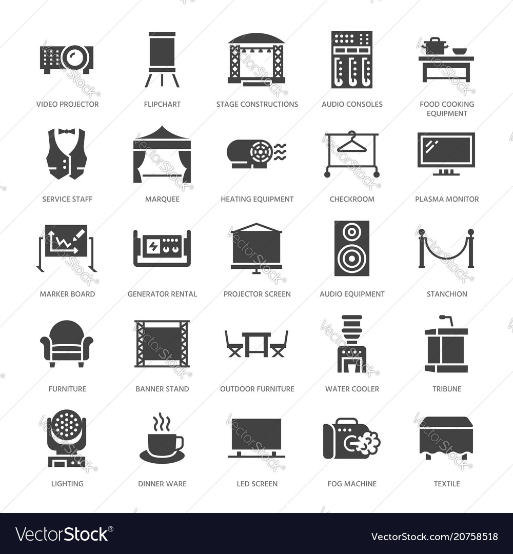 Event supplies flat glyph icons party equipment