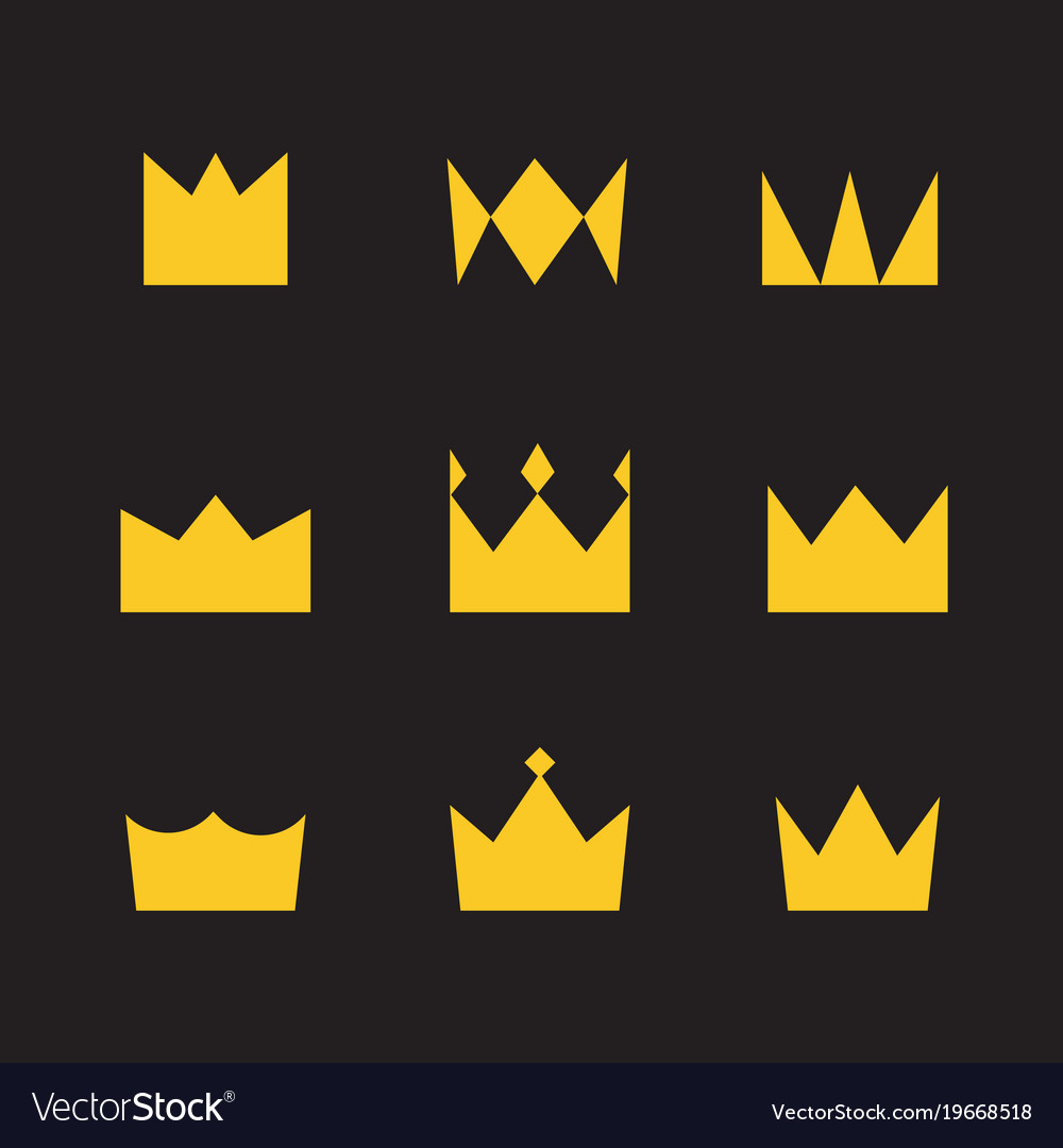 Golden crowns on a black background simple style