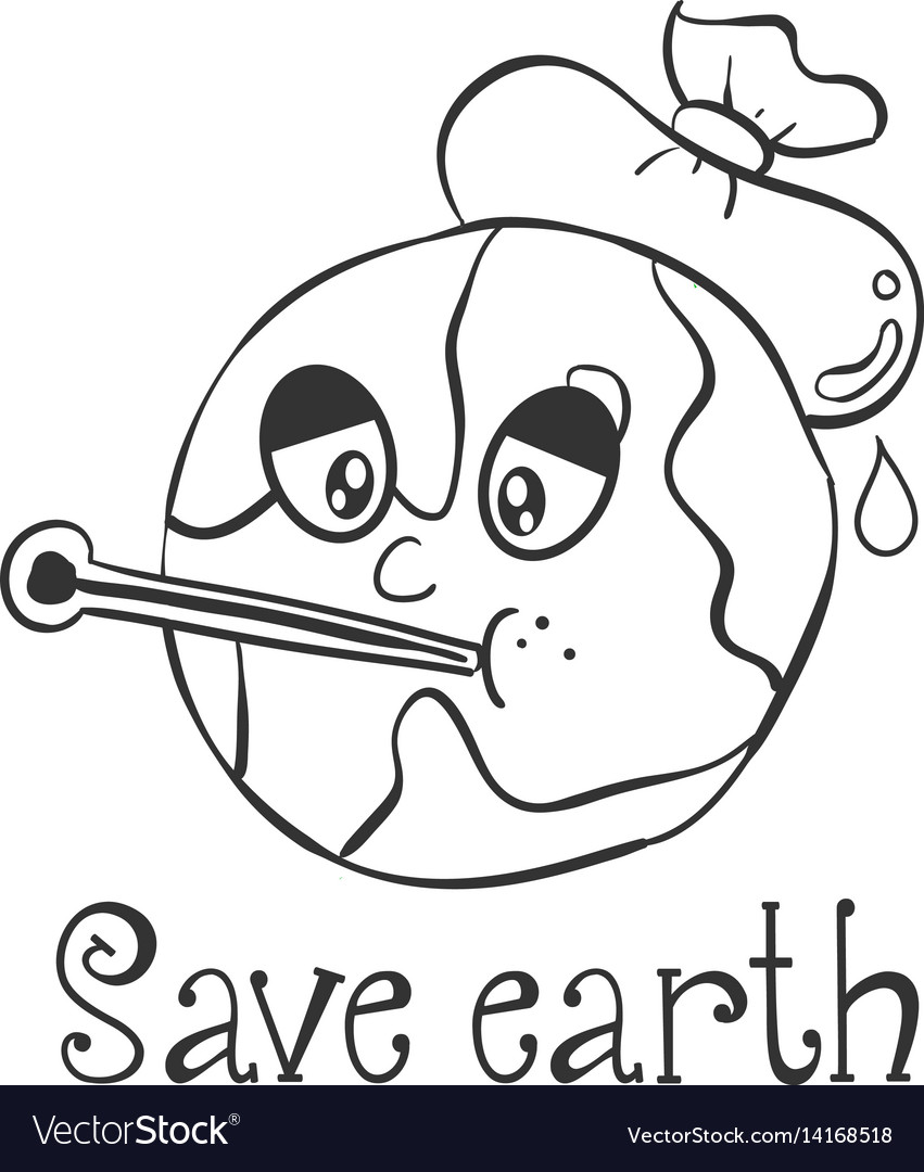 Hand Draw Save Earth Design Royalty Free Vector Image