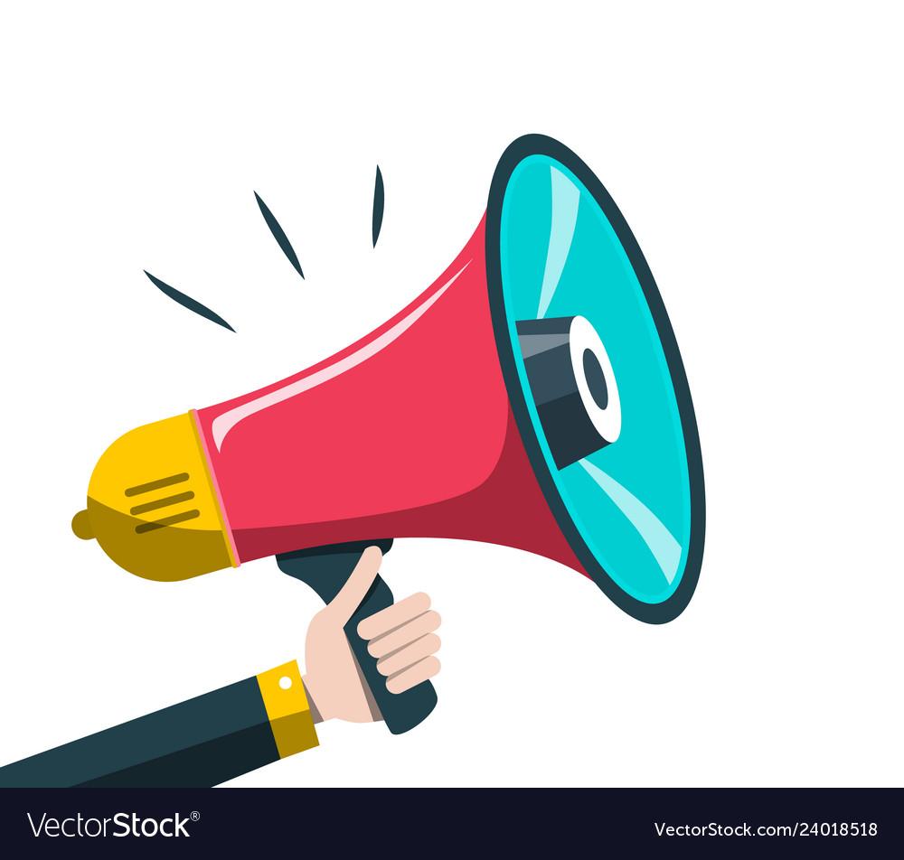 megaphone symbol hand holding loudspeaker vector image https www vectorstock com royalty free vector megaphone symbol hand holding loudspeaker vector 24018518