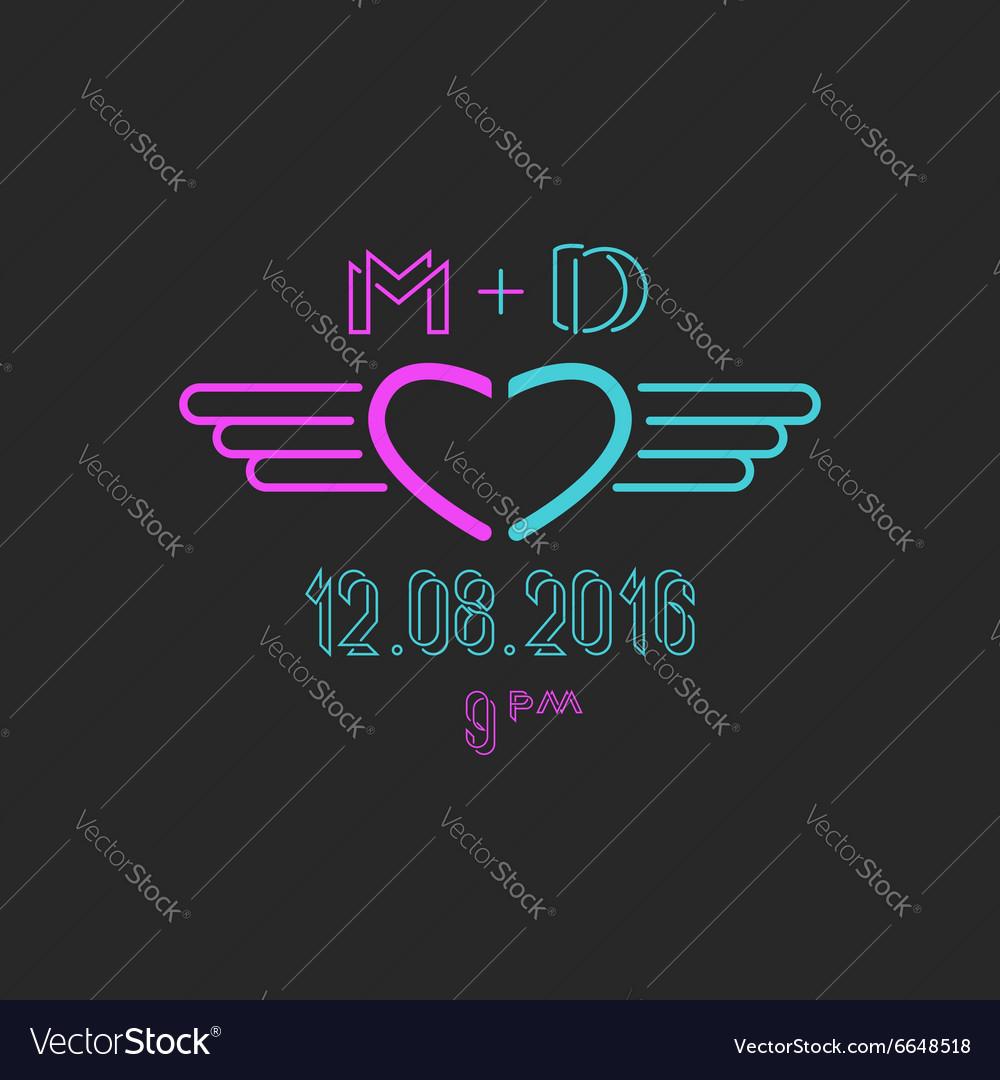 Mockup wedding invitation heart and wings cool