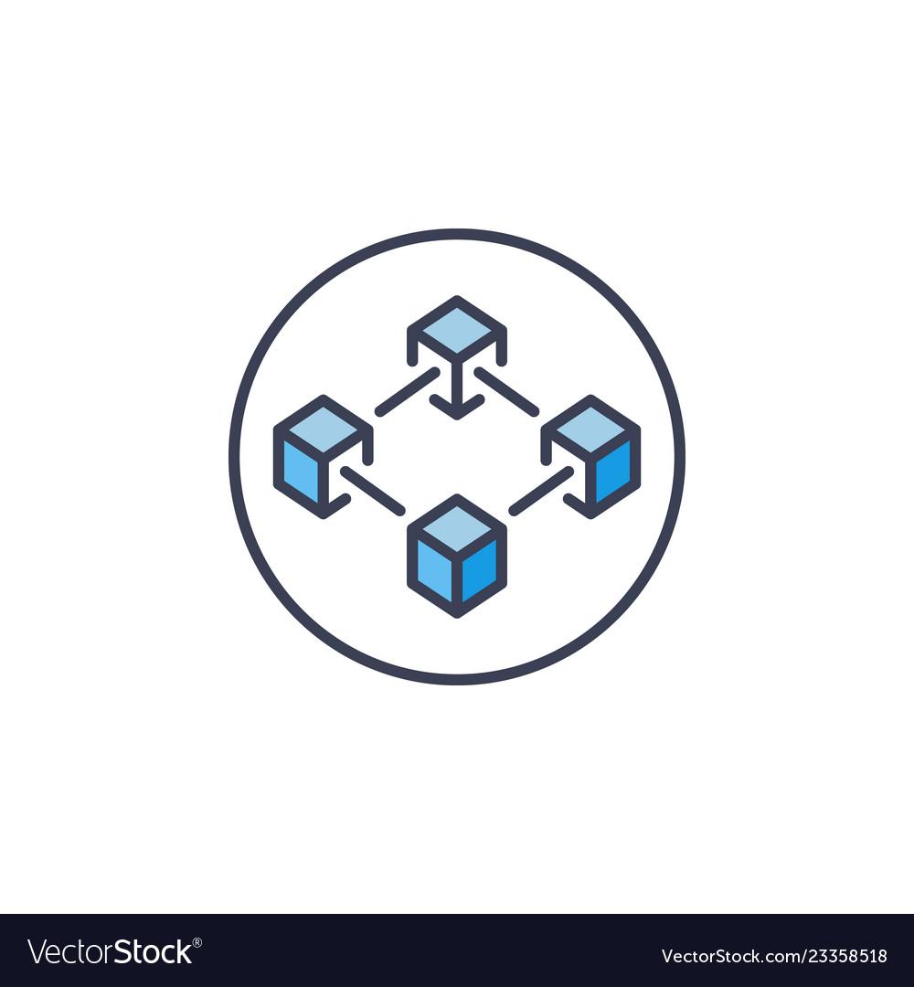 Modern blockchain in circle icon on white