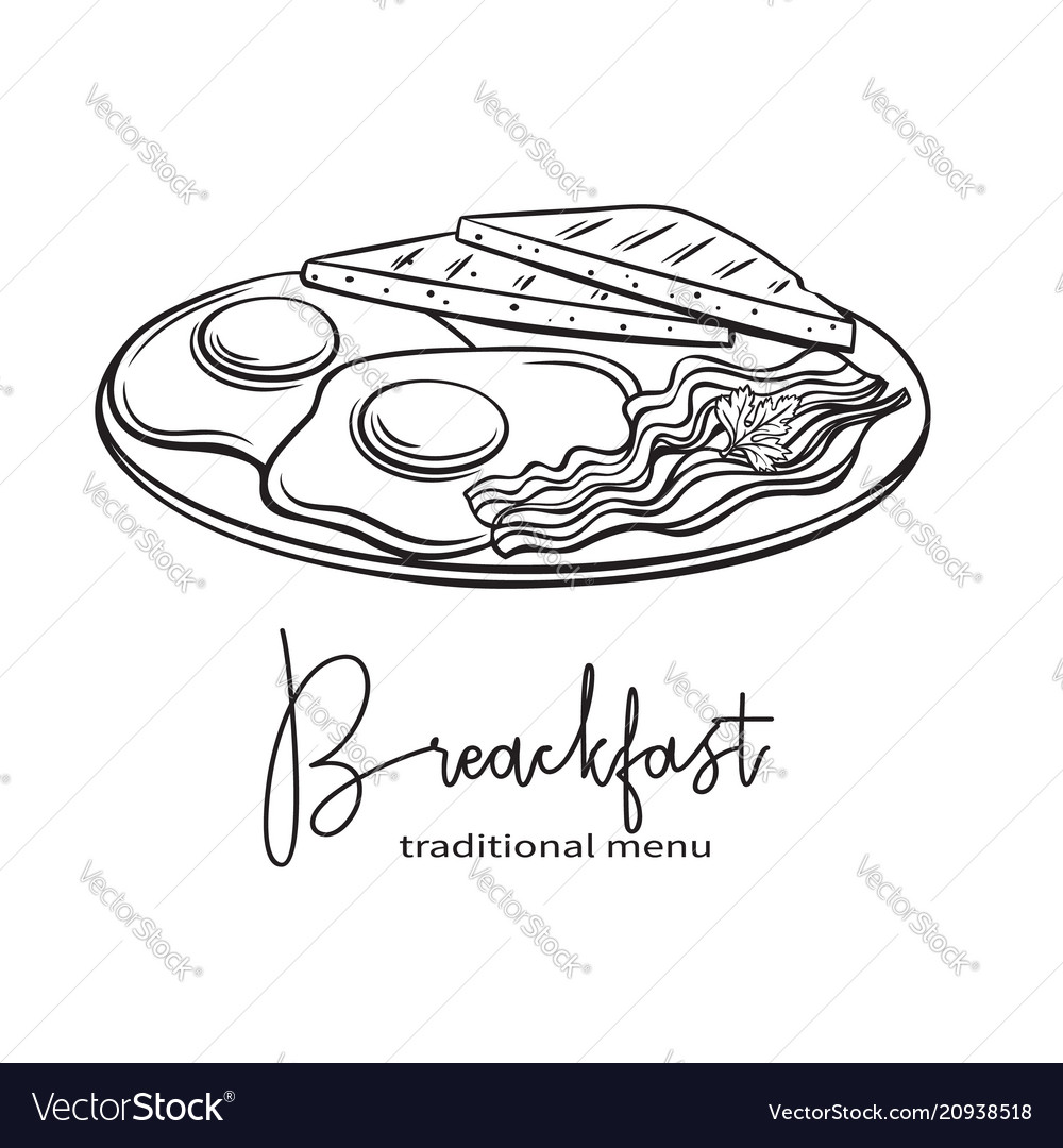 Plate Breakfast With Fried Eggs Royalty Free Vector Image