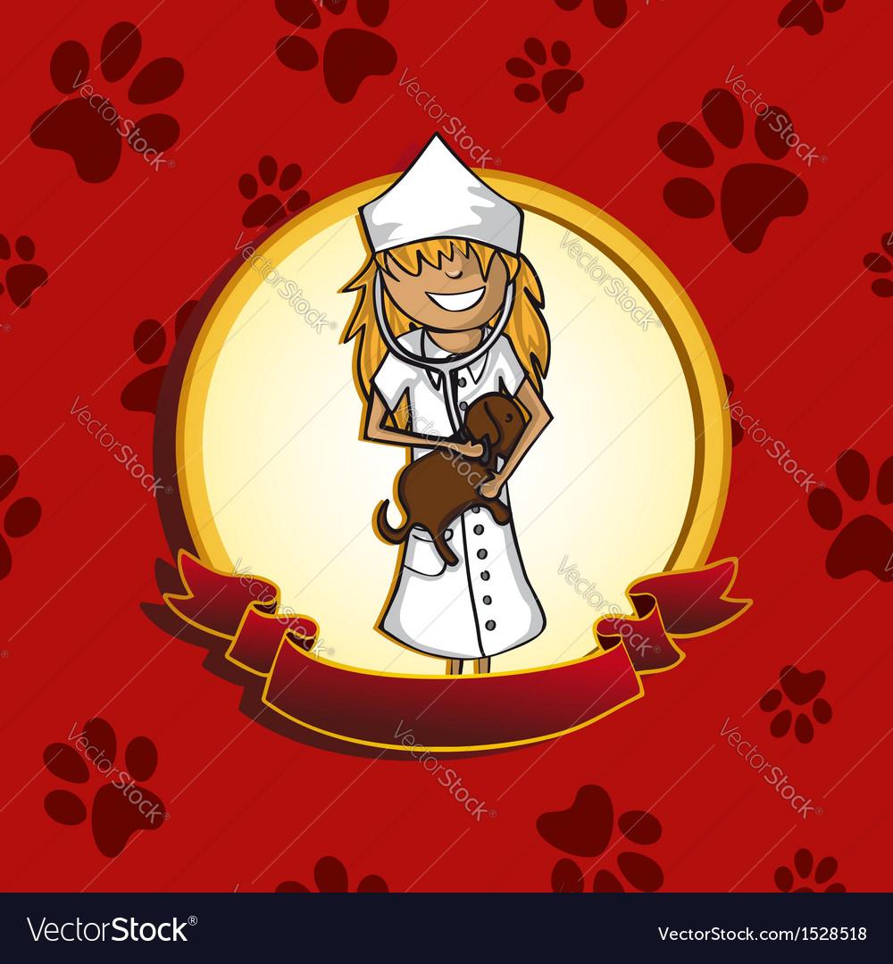 Service vet doctor girl cartoon label icon vector image