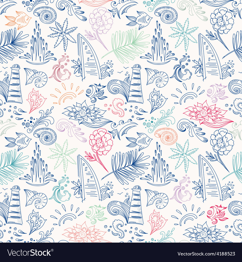Colorful sketch travel pattern vector image