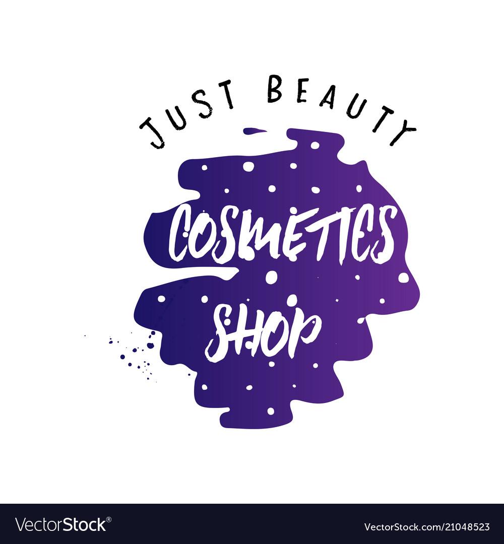 Cosmetics logo handwritten lettering makeup
