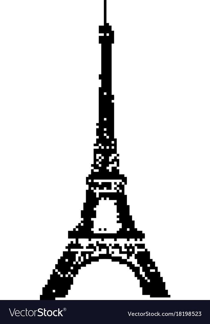 eiffel tower paris 8 bit minimalistic pixel art vector image rh vectorstock com eiffel tower vector art eiffel tower vector illustration
