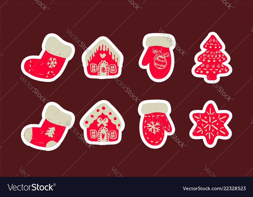 Icon set cute christmas things vector