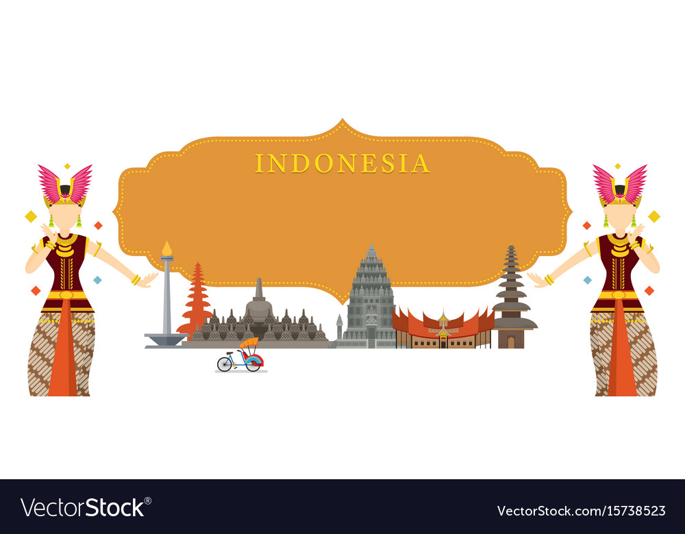 Indonesia landmarks traditional dance frame vector image