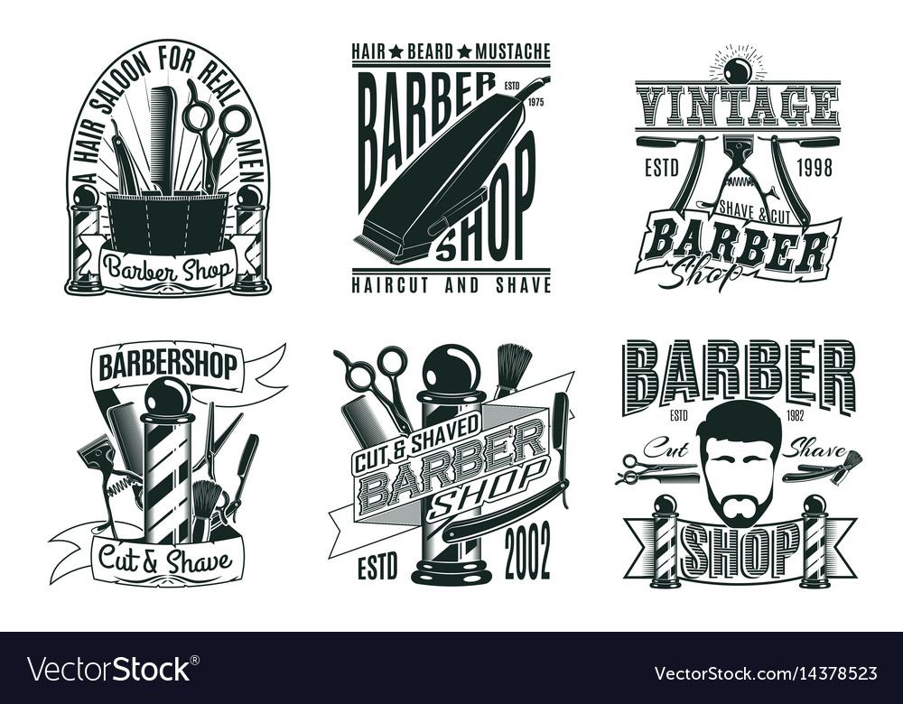 Monochrome vintage barber shop logos set