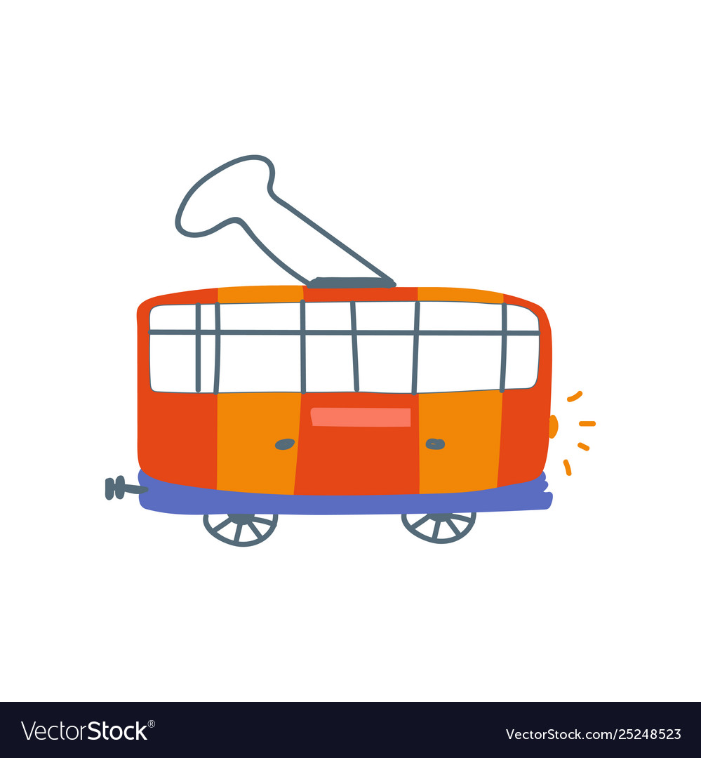Red electric tram sife view cartoon