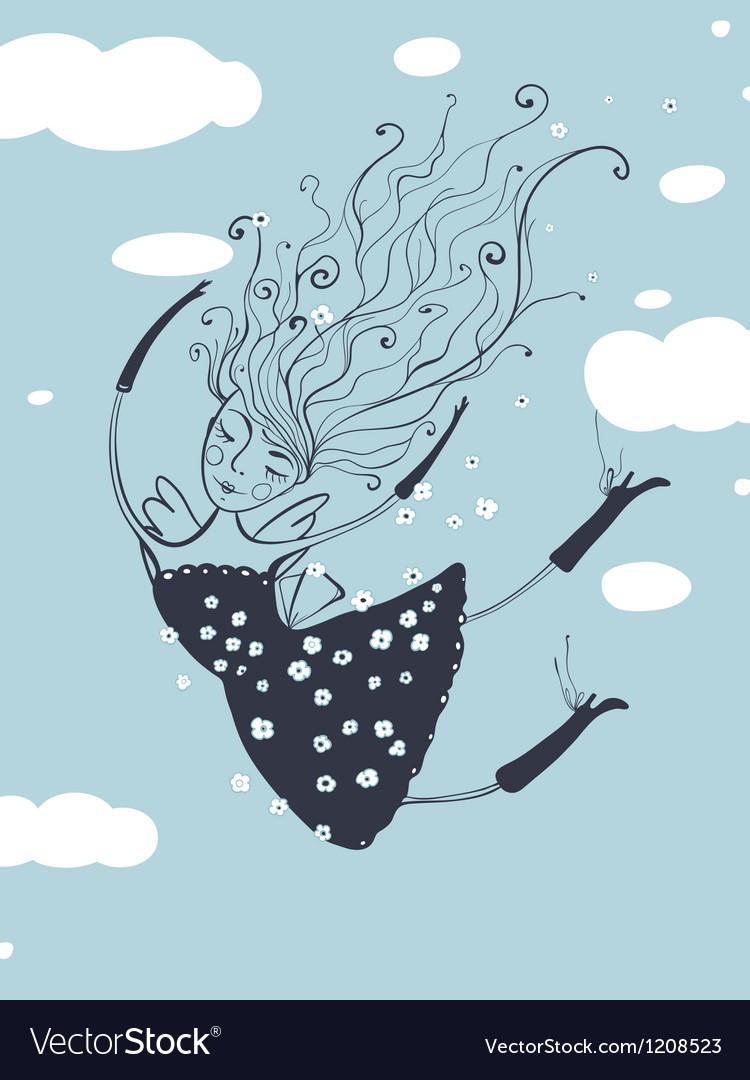 Romantic Flying Beautiful Girl Cartoon