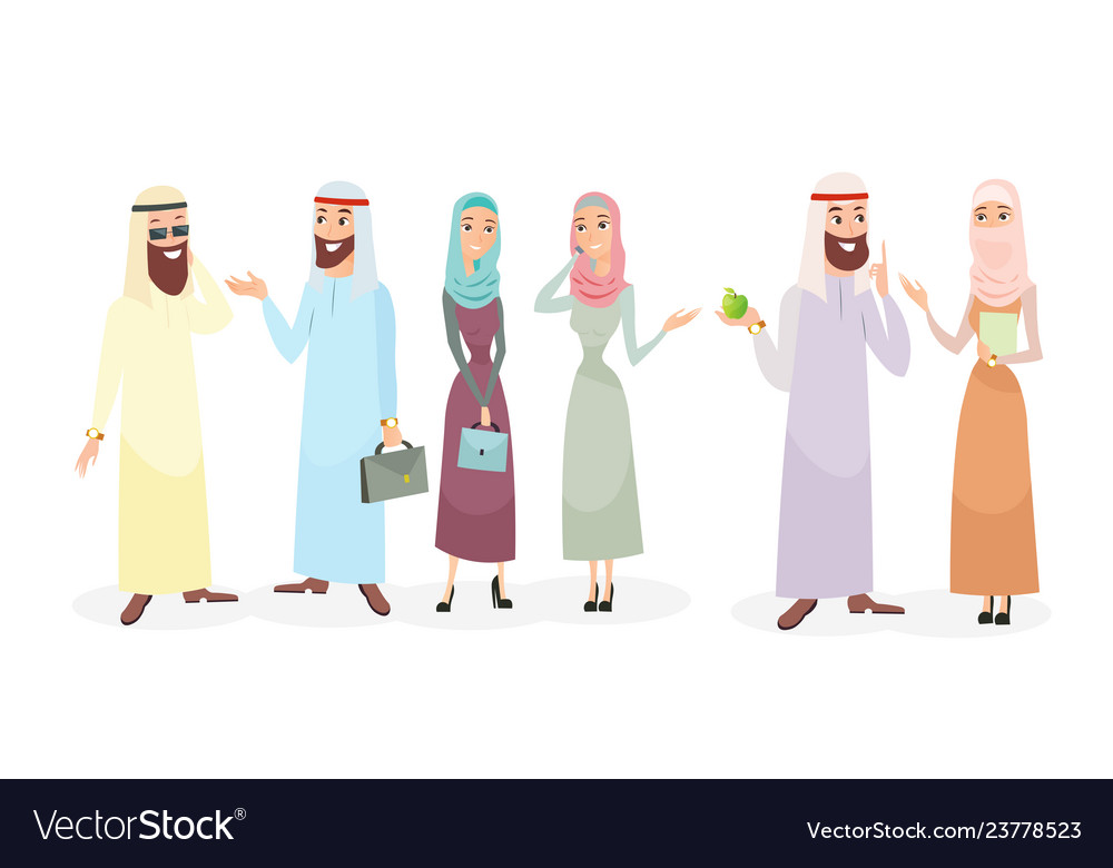 Set of arabic business people