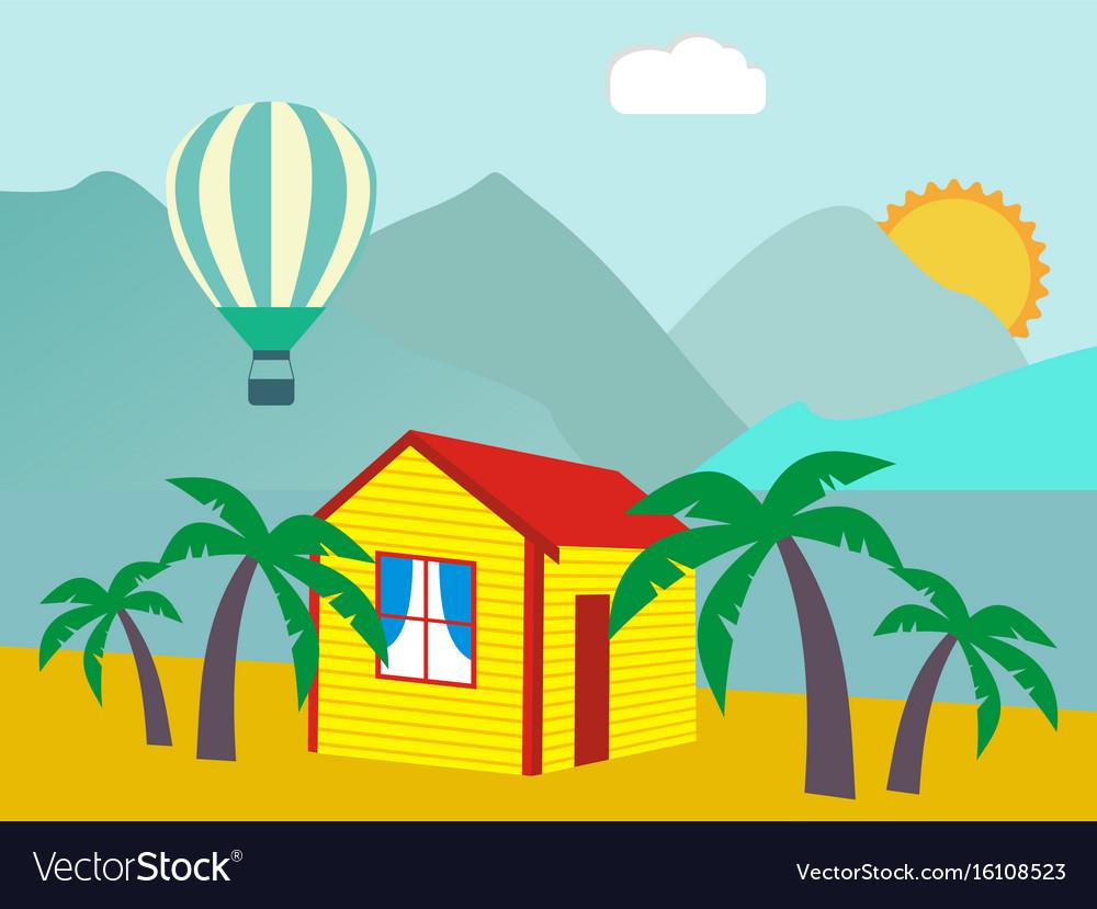 Summer vacation - sea palm tree sun and beach