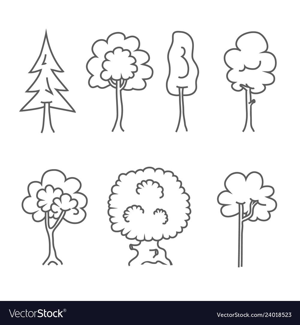 Tree icons doodle trees symbols