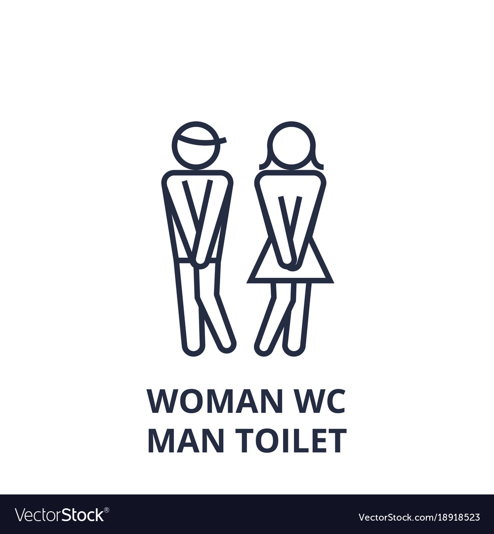 Woman wc man toilet line icon outline sign