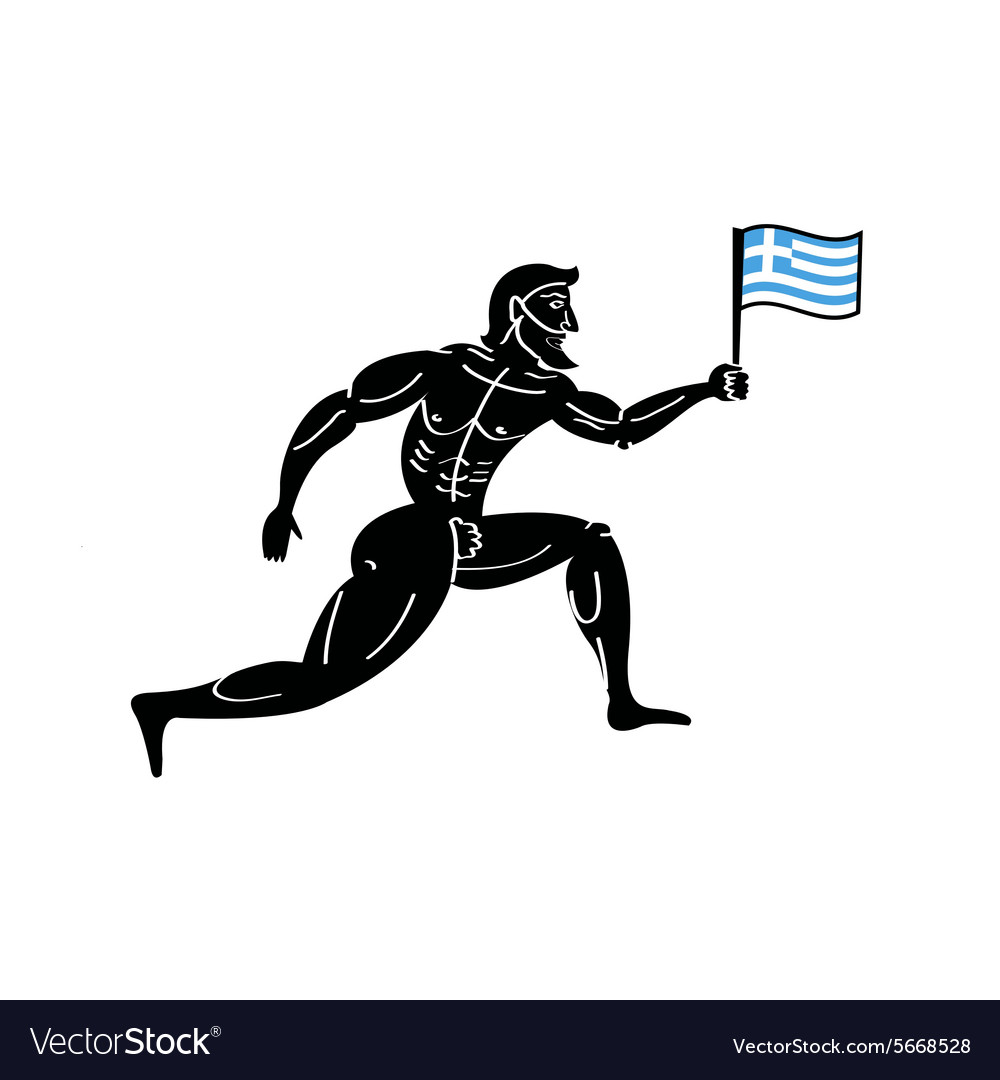 Ancient greek athletic runner with national flag