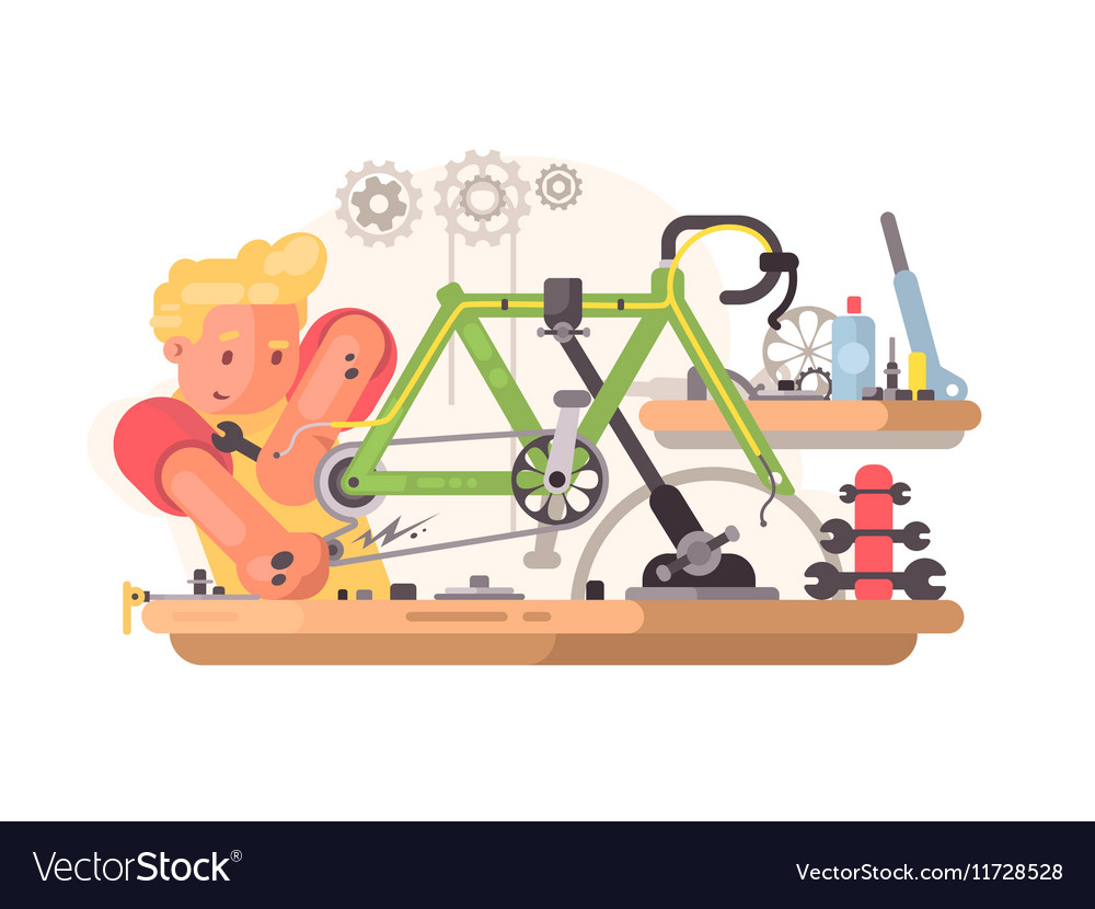 Bicycle repair service vector image