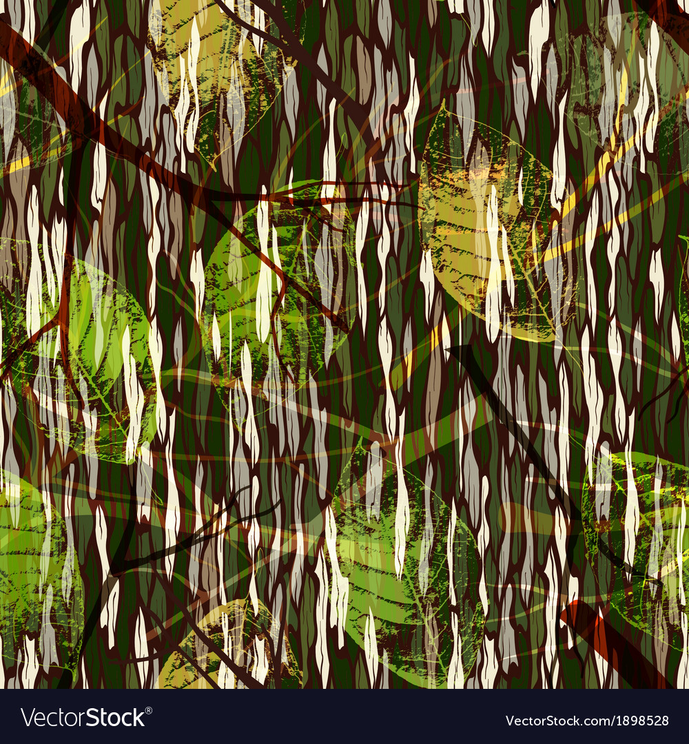 Camouflage seamless pattern with realistic leaves vector image