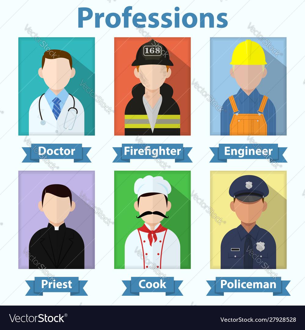 Flat profession avatars various job people