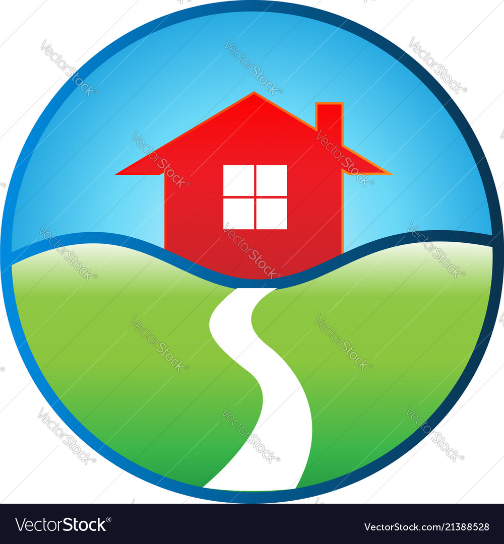 Isolated home in the fields icon