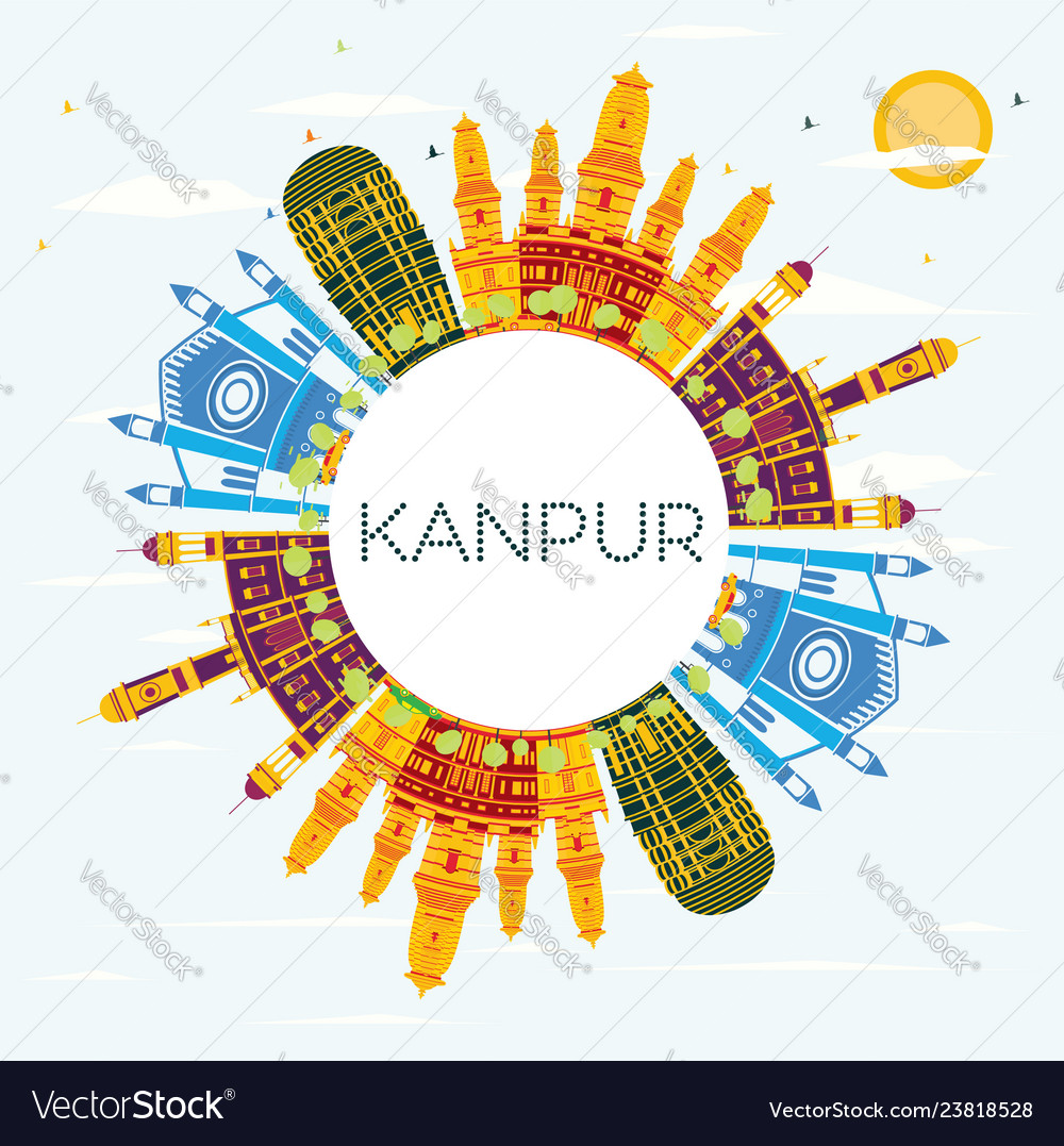 Kanpur india city skyline with color buildings