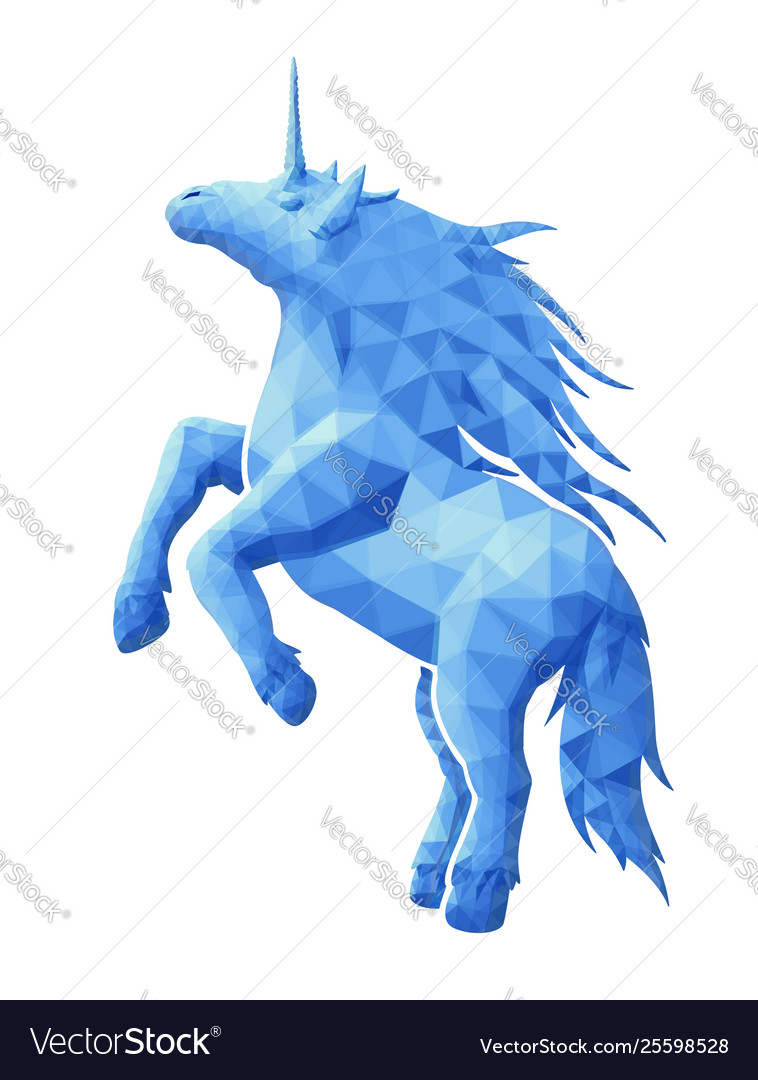Low poly with blue unicorn silhouette