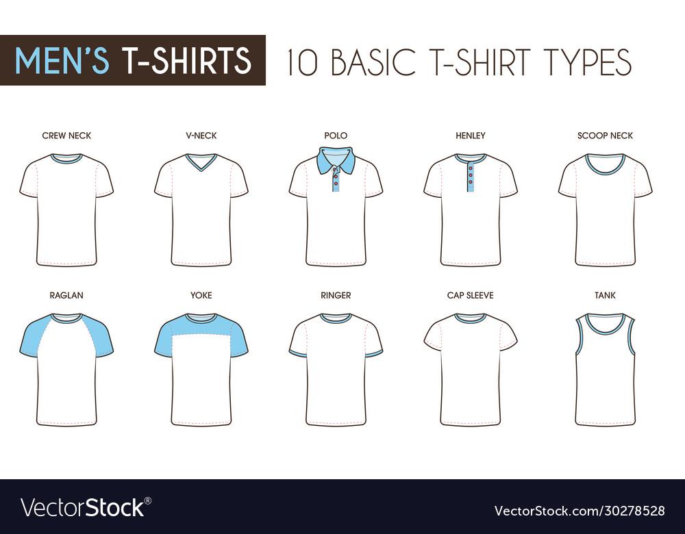 Mens Basic T Shirt Types Royalty Free Vector Image
