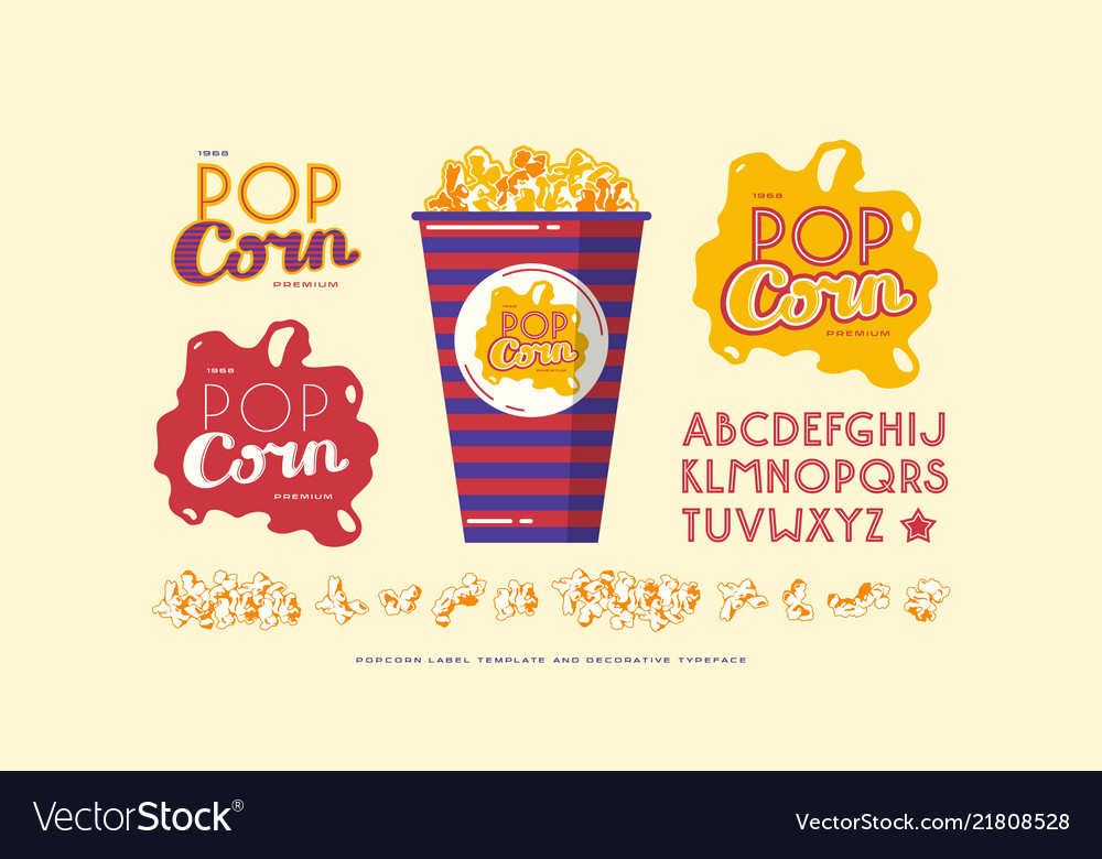 Popcorn Template | Popcorn Label Template And Decorative Font Vector Image