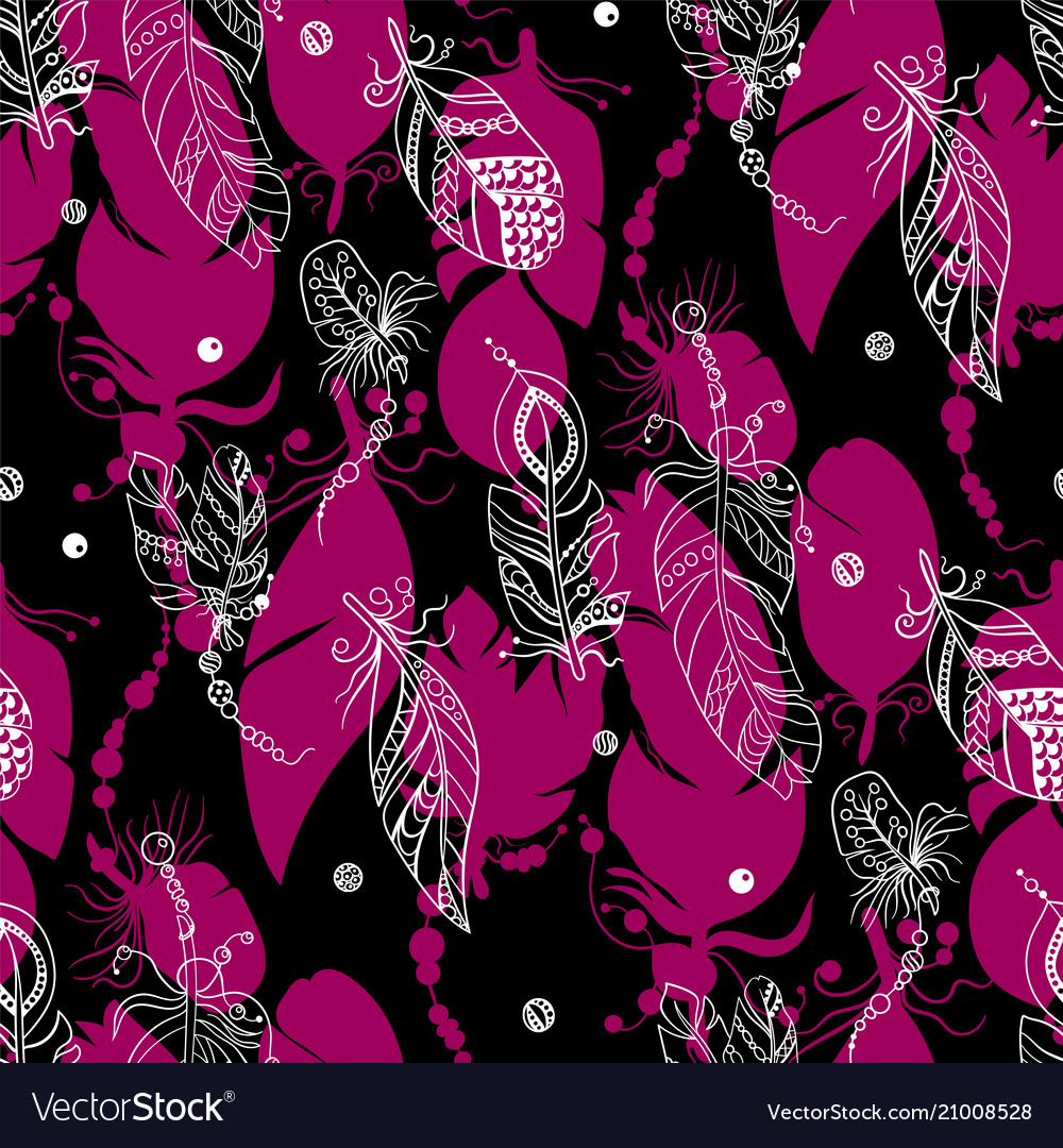Seamless tribal pattern with feathers in graphic
