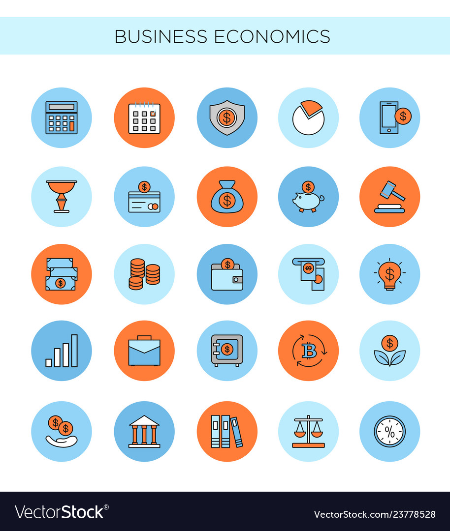 Set line icons business