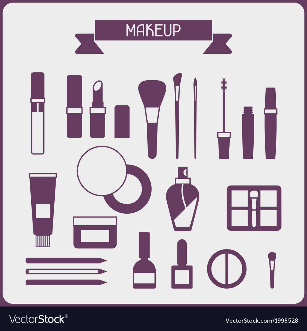 Set of cosmetics icons in flat style vector image